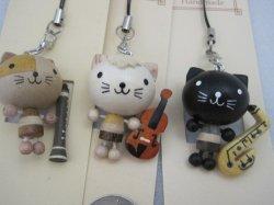 画像1: 木製手作り ネコと楽器のストラップ