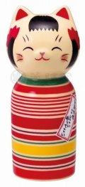 しあわせ猫こけし (ロクロ模様・大)